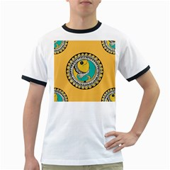 Madhubani Fish Indian Ethnic Pattern Ringer T-Shirts