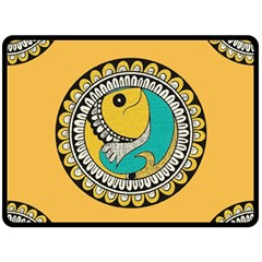 Madhubani Fish Indian Ethnic Pattern Fleece Blanket (large)
