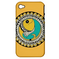 Madhubani Fish Indian Ethnic Pattern Apple iPhone 4/4S Hardshell Case (PC+Silicone)