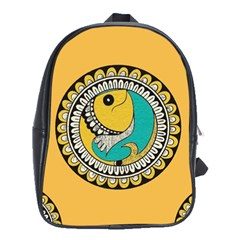 Madhubani Fish Indian Ethnic Pattern School Bags (XL)