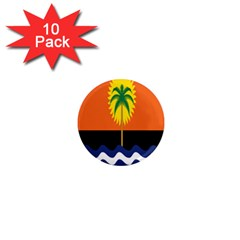 Coconut Tree Wave Water Sun Sea Orange Blue White Yellow Green 1  Mini Magnet (10 pack)
