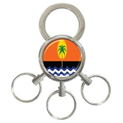 Coconut Tree Wave Water Sun Sea Orange Blue White Yellow Green 3 Ring Key Chains