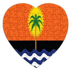 Coconut Tree Wave Water Sun Sea Orange Blue White Yellow Green Jigsaw Puzzle (Heart)
