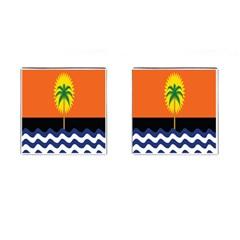 Coconut Tree Wave Water Sun Sea Orange Blue White Yellow Green Cufflinks (Square)