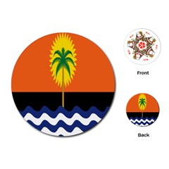 Coconut Tree Wave Water Sun Sea Orange Blue White Yellow Green Playing Cards (Round)