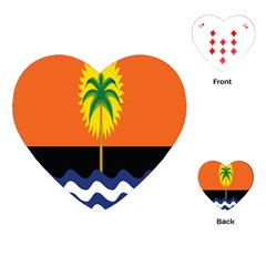 Coconut Tree Wave Water Sun Sea Orange Blue White Yellow Green Playing Cards (Heart)