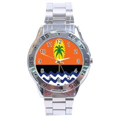 Coconut Tree Wave Water Sun Sea Orange Blue White Yellow Green Stainless Steel Analogue Watch