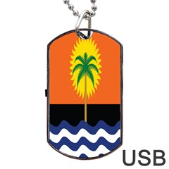 Coconut Tree Wave Water Sun Sea Orange Blue White Yellow Green Dog Tag USB Flash (One Side)