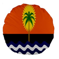 Coconut Tree Wave Water Sun Sea Orange Blue White Yellow Green Large 18  Premium Round Cushions