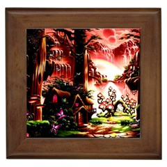 Fantasy Art Story Lodge Girl Rabbits Flowers Framed Tiles