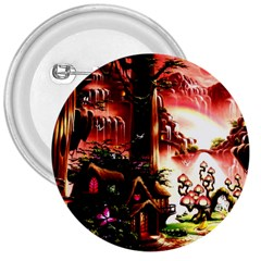 Fantasy Art Story Lodge Girl Rabbits Flowers 3  Buttons