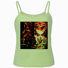 Fantasy Art Story Lodge Girl Rabbits Flowers Green Spaghetti Tank