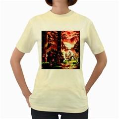 Fantasy Art Story Lodge Girl Rabbits Flowers Women s Yellow T Shirt
