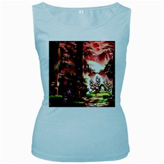 Fantasy Art Story Lodge Girl Rabbits Flowers Women s Baby Blue Tank Top