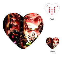 Fantasy Art Story Lodge Girl Rabbits Flowers Playing Cards (Heart)