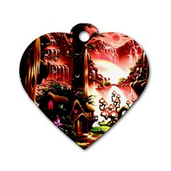 Fantasy Art Story Lodge Girl Rabbits Flowers Dog Tag Heart (one Side)