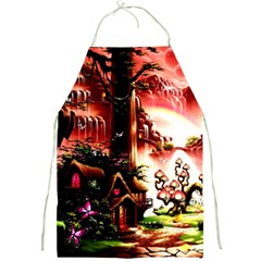 Fantasy Art Story Lodge Girl Rabbits Flowers Full Print Aprons