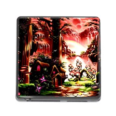 Fantasy Art Story Lodge Girl Rabbits Flowers Memory Card Reader (square)
