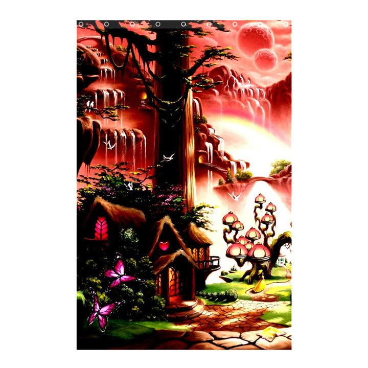Fantasy Art Story Lodge Girl Rabbits Flowers Shower Curtain 48  x 72  (Small)