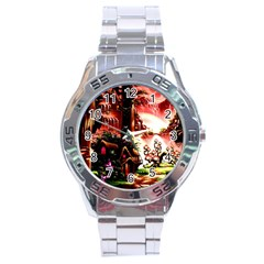 Fantasy Art Story Lodge Girl Rabbits Flowers Stainless Steel Analogue Watch