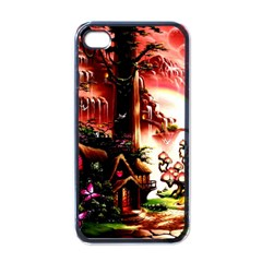 Fantasy Art Story Lodge Girl Rabbits Flowers Apple iPhone 4 Case (Black)