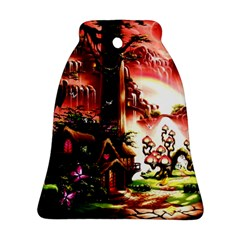 Fantasy Art Story Lodge Girl Rabbits Flowers Bell Ornament (Two Sides)