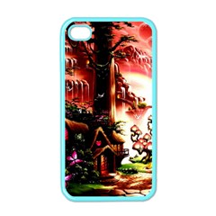 Fantasy Art Story Lodge Girl Rabbits Flowers Apple Iphone 4 Case (color)
