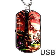 Fantasy Art Story Lodge Girl Rabbits Flowers Dog Tag USB Flash (Two Sides)
