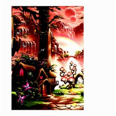Fantasy Art Story Lodge Girl Rabbits Flowers Small Garden Flag (two Sides)