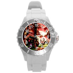 Fantasy Art Story Lodge Girl Rabbits Flowers Round Plastic Sport Watch (L)