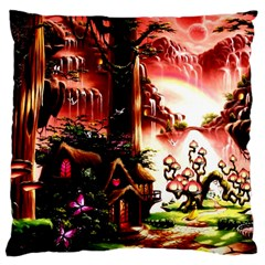 Fantasy Art Story Lodge Girl Rabbits Flowers Large Cushion Case (One Side)