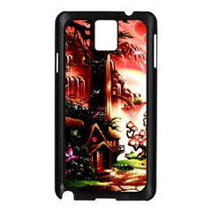 Fantasy Art Story Lodge Girl Rabbits Flowers Samsung Galaxy Note 3 N9005 Case (Black)