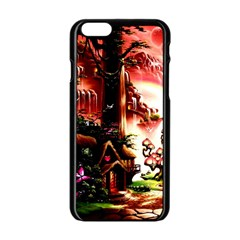 Fantasy Art Story Lodge Girl Rabbits Flowers Apple Iphone 6/6s Black Enamel Case