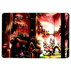 Fantasy Art Story Lodge Girl Rabbits Flowers iPad Air 2 Flip