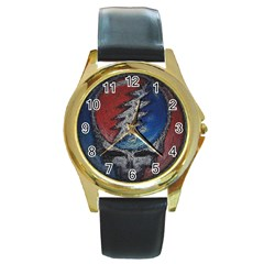 Grateful Dead Logo Round Gold Metal Watch