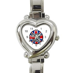 Punk Not Dead Music Rock Uk Flag Heart Italian Charm Watch
