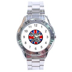 Punk Not Dead Music Rock Uk Flag Stainless Steel Analogue Watch