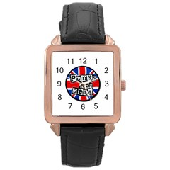 Punk Not Dead Music Rock Uk Flag Rose Gold Leather Watch