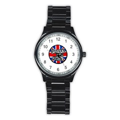 Punk Not Dead Music Rock Uk Flag Stainless Steel Round Watch