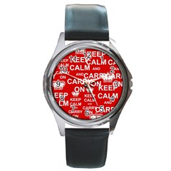 Keep Calm And Carry On Round Metal Watch