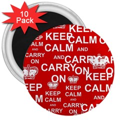 Keep Calm And Carry On 3  Magnets (10 pack)