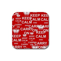 Keep Calm And Carry On Rubber Square Coaster (4 pack)