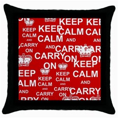 Keep Calm And Carry On Throw Pillow Case (Black)