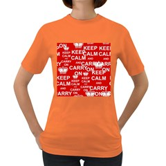 Keep Calm And Carry On Women s Dark T Shirt