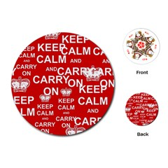 Keep Calm And Carry On Playing Cards (Round)