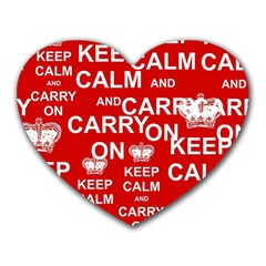 Keep Calm And Carry On Heart Mousepads