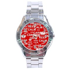Keep Calm And Carry On Stainless Steel Analogue Watch