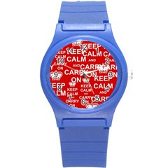 Keep Calm And Carry On Round Plastic Sport Watch (S)