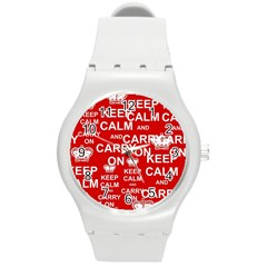 Keep Calm And Carry On Round Plastic Sport Watch (m)