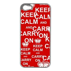 Keep Calm And Carry On Apple iPhone 5 Case (Silver)